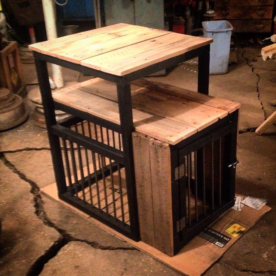 Dog kennel / night stand Pallet wood Diy dog crate, Dog