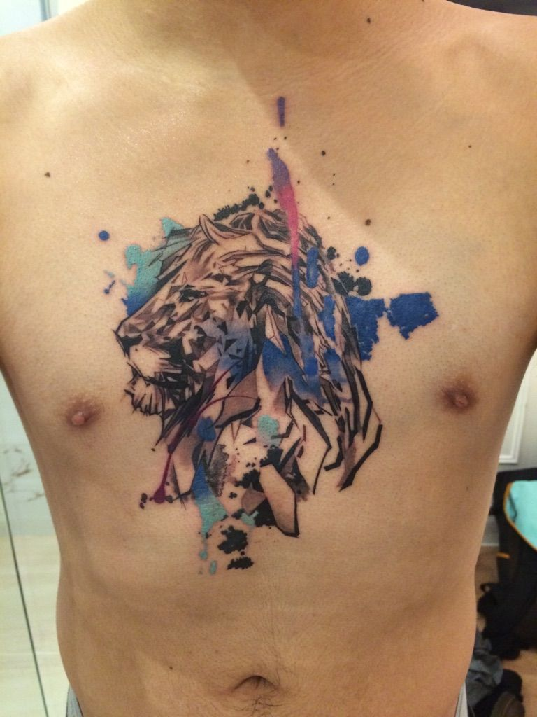 Geometric inked lion by olivia from tattoo temple hong for Hong kong tattoo