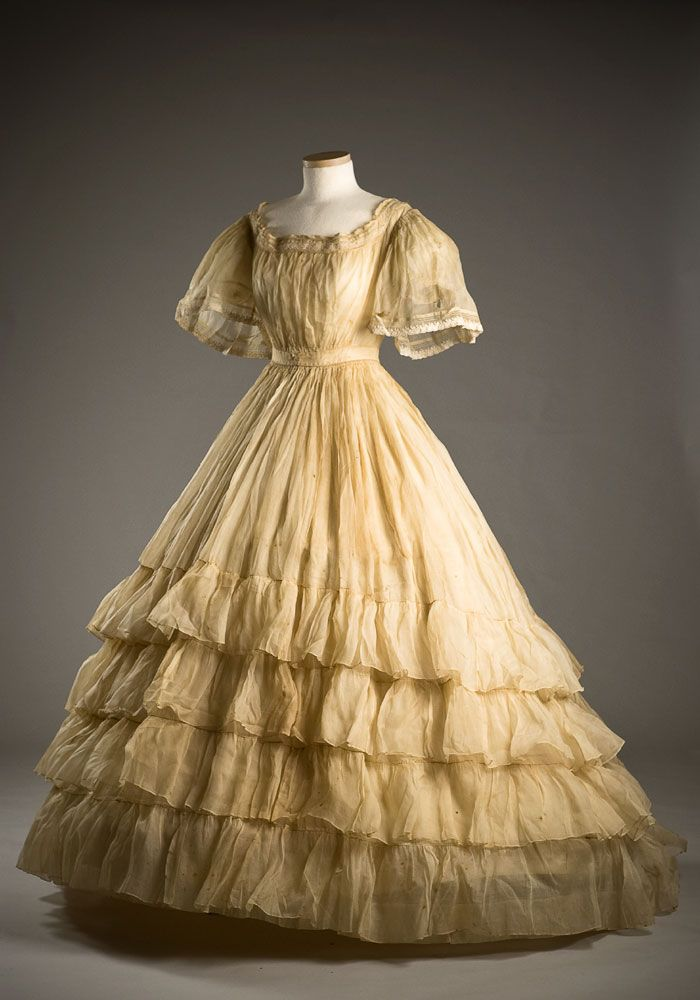 Starched organdy dress 1865 typical of mid 19th century for 19th century wedding dresses