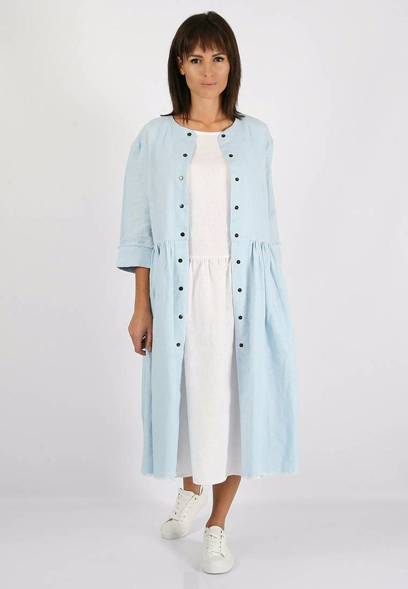 White Linen Midi Dress, Simple linen dress, 100% Linen Women's Clothing, Linen tunic, Linen tunic dress, summer dress, women's clothing #linentunic