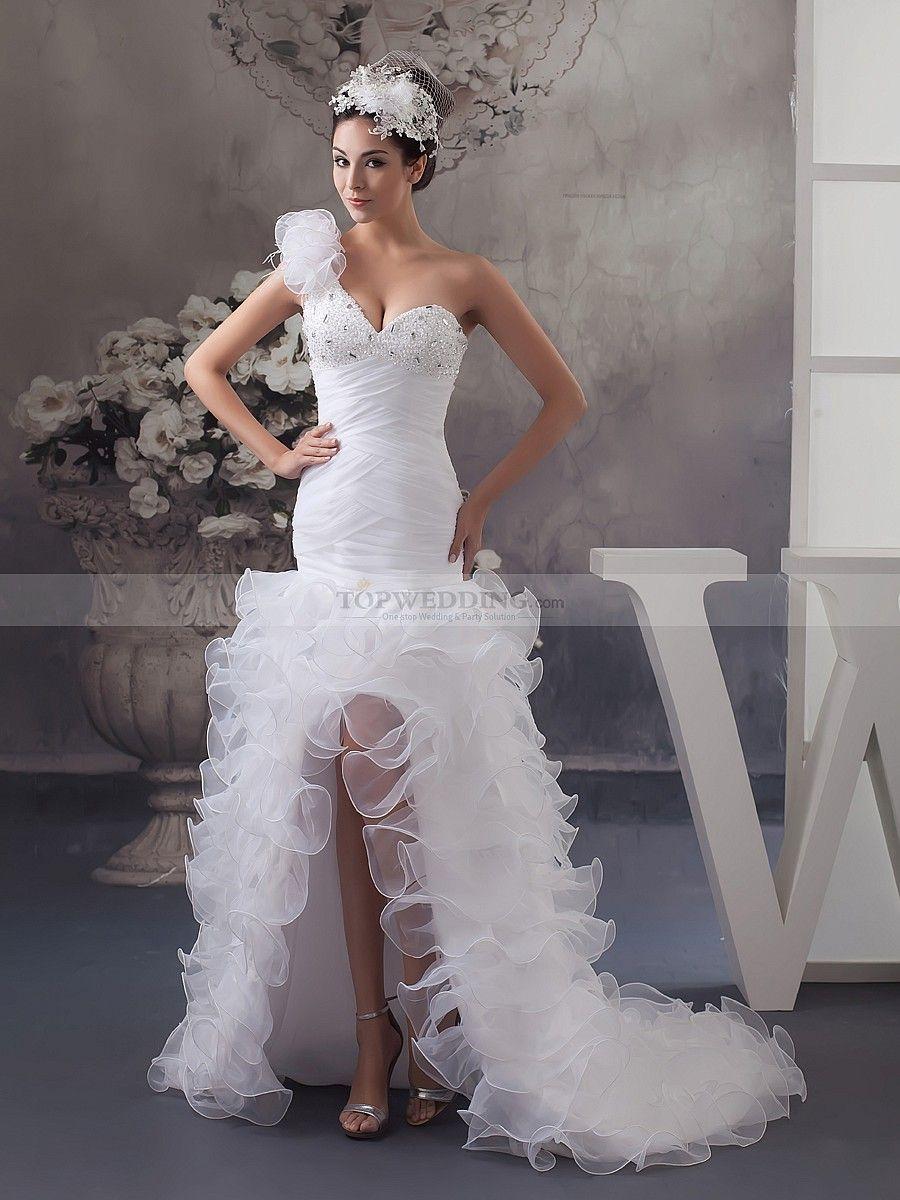 One Shoulder Beaded Ruffle Mermaid Wedding Dress