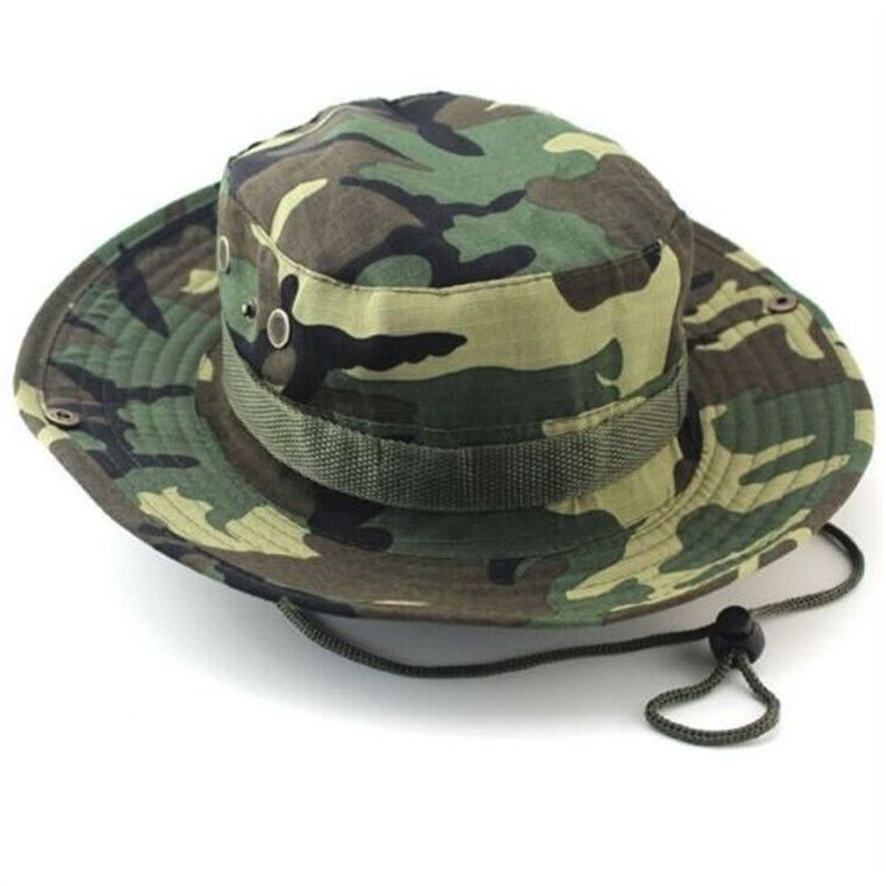 Camouflage Bucket Hats Wide Brim Sun Cap Ripstop Camo Fishing Hunting  Hiking Men Safari Summer Jungle f78793cfb811