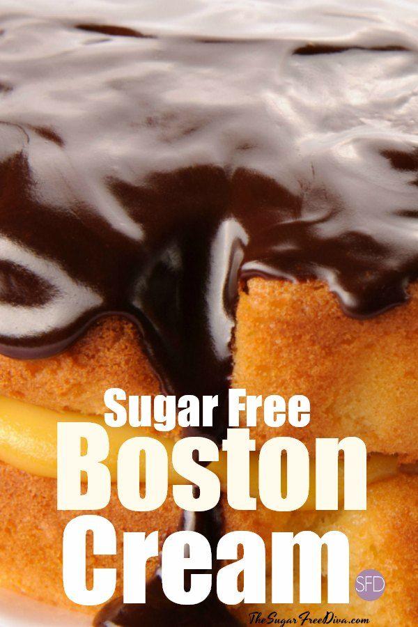 Sugar Free Boston Cream Pie Cake - THE SUGAR FREE DIVA #sugarcreampie