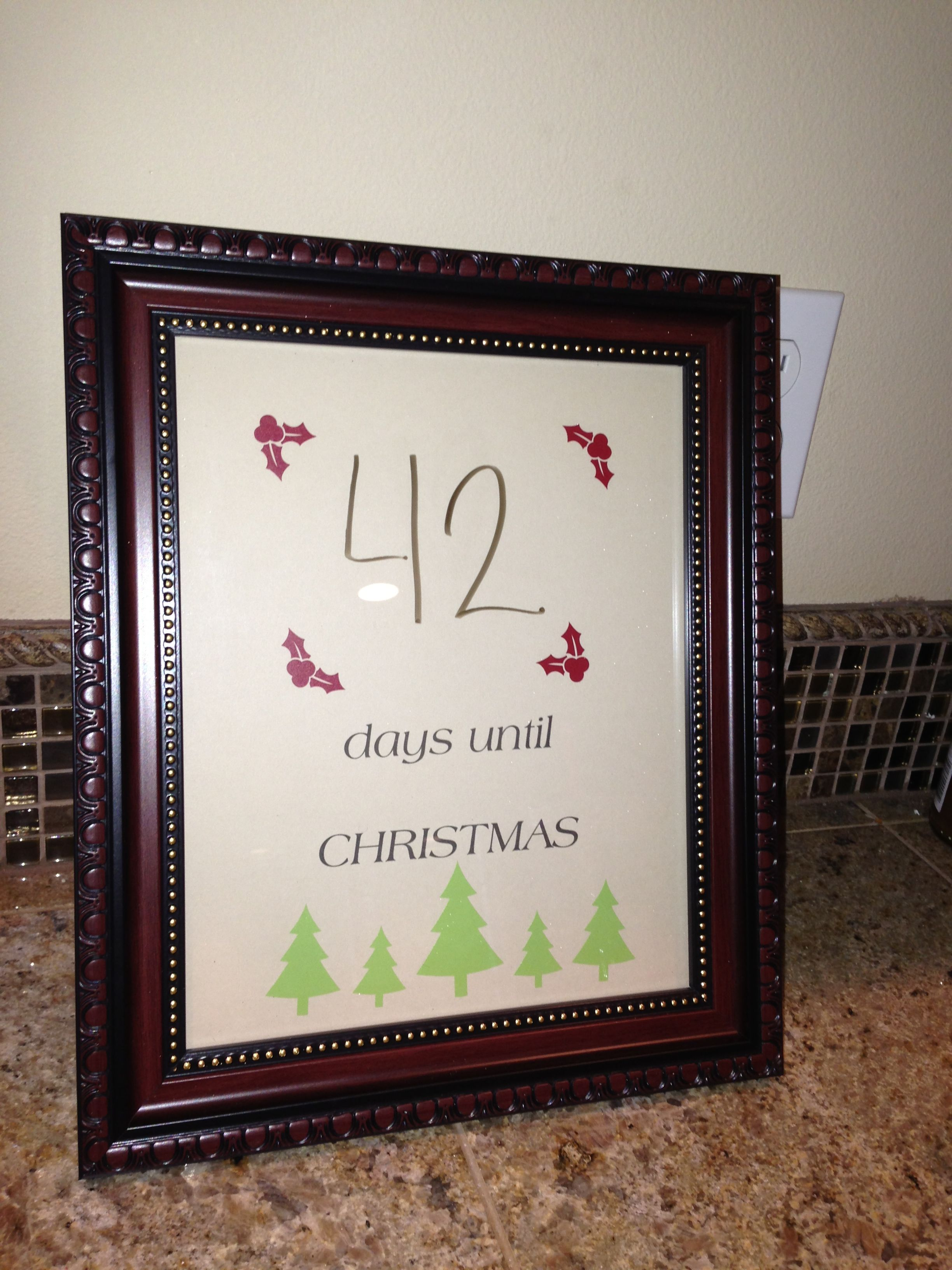 Christmas Countdown Picture Frame With Printed Card Stock Inside And Write On Front With Dry Era Christmas Crafts For Kids Crafts For Kids Christmas Countdown