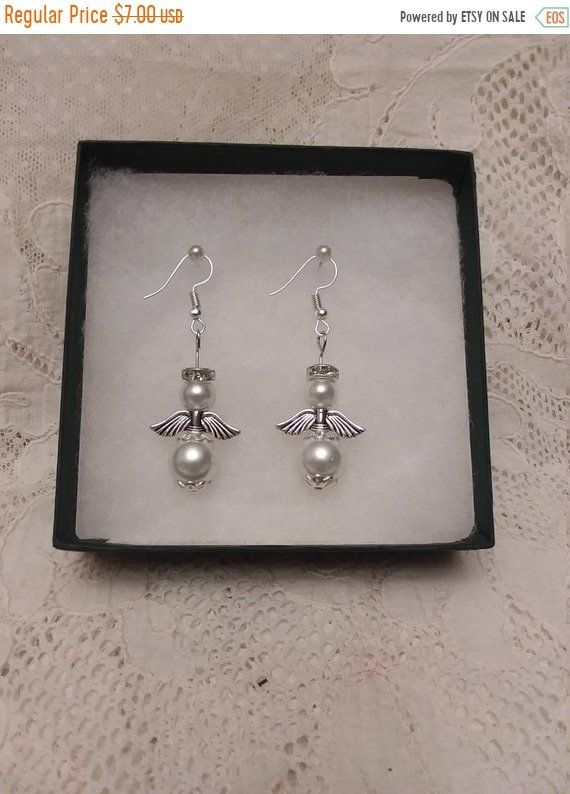 Unique White Pearl Guardian Angel Earrings Handmade Gift Gift For