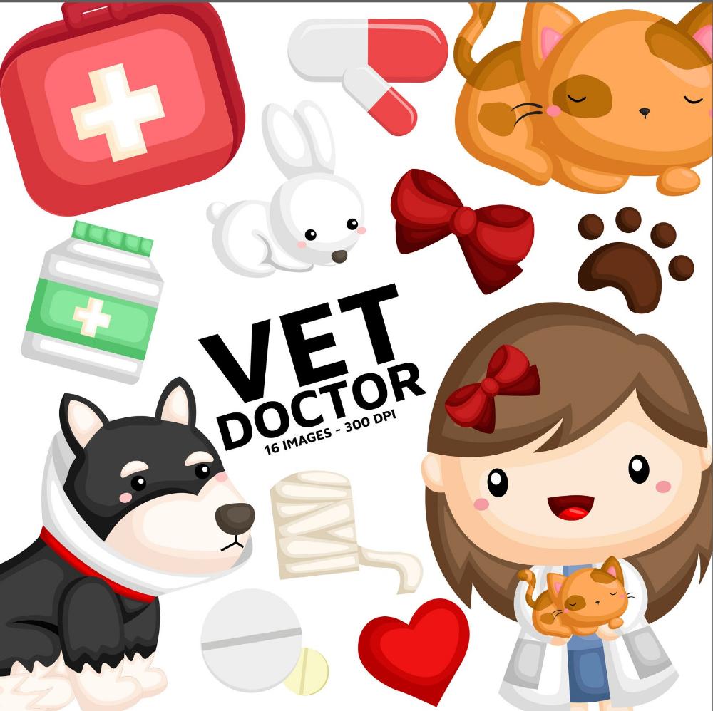 Animal Vet Clipart Cute Animal Clipart Job And Occupation Etsy In 2021 Cute Animal Clipart Animal Clipart Vet Clipart