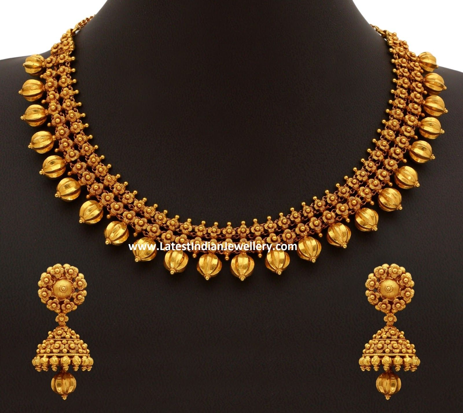 Beautiful 22 carat gold chains with matching pendant designs latest - Plain Antique 22 Carat Gold Necklace And Jhumka Earrings Set In Intricate Hand Work Is A Beauty With No Stones Studded