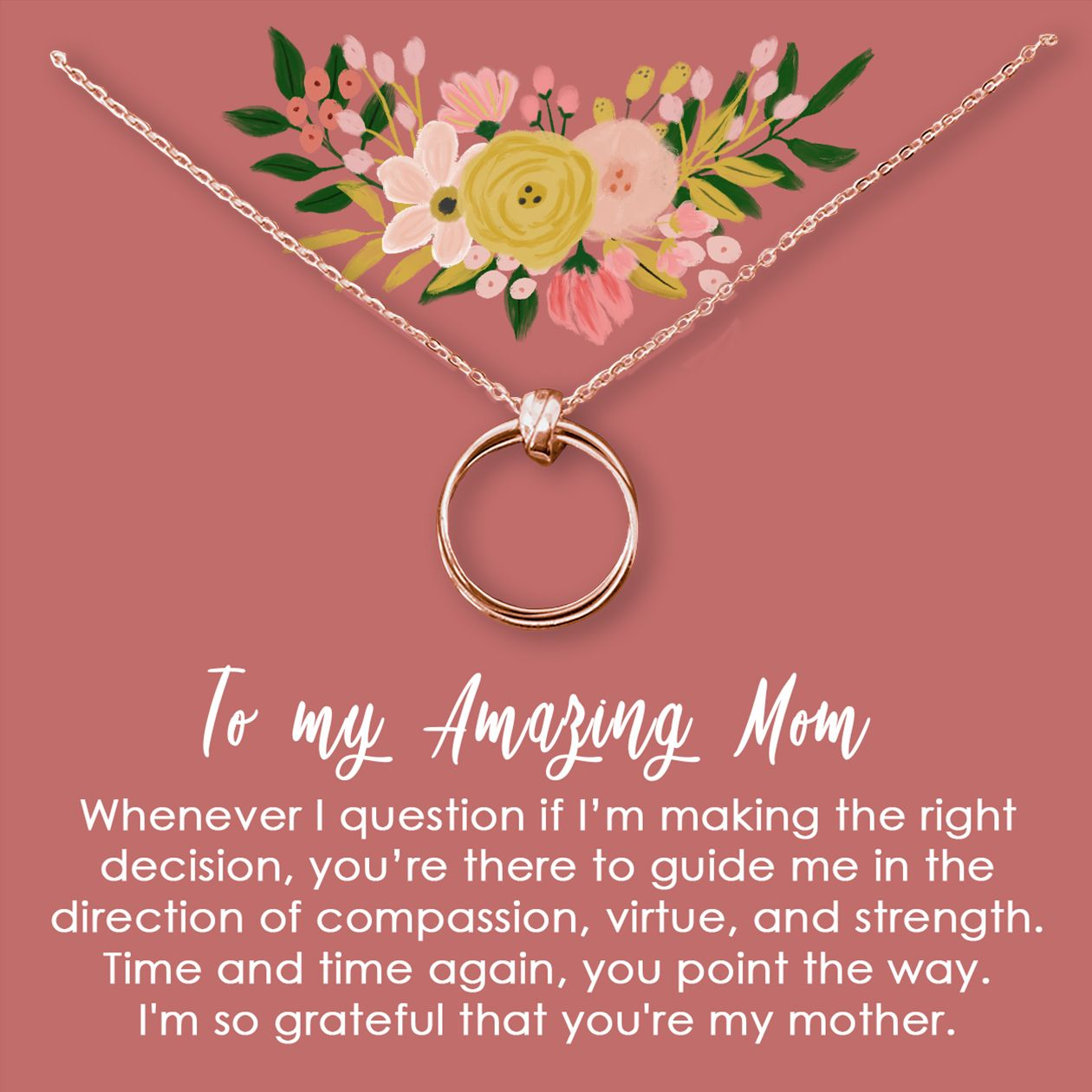 Mother's Day Necklace Happy birthday mom from daughter