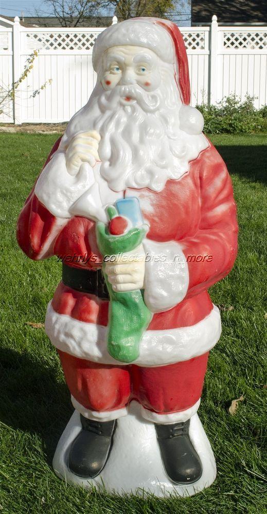 Vintage Empire Plastics 41 Tall Santa Claus W Stocking Christmas Blow Mold Blow Molding Christmas Stockings Christmas Love