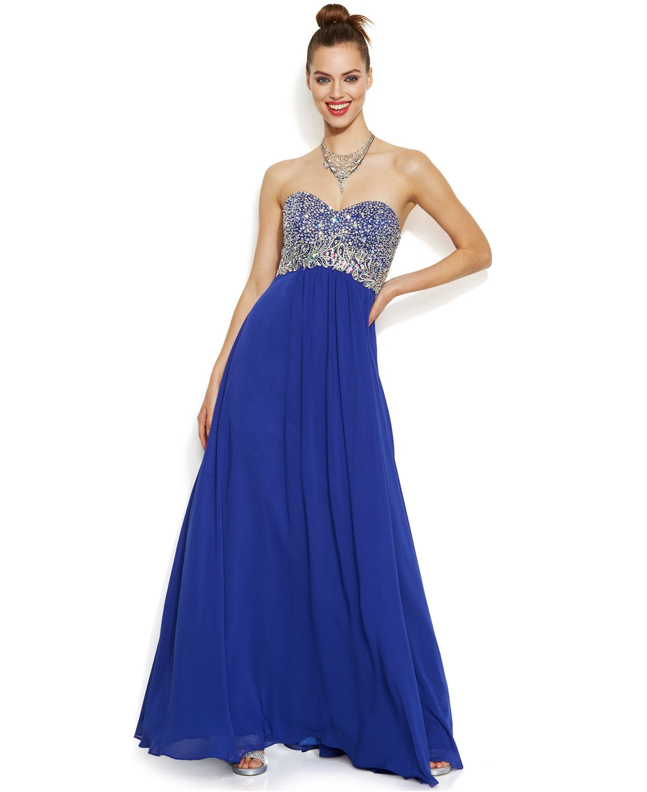 Decode strapless embellished sweetheart gown dresses women