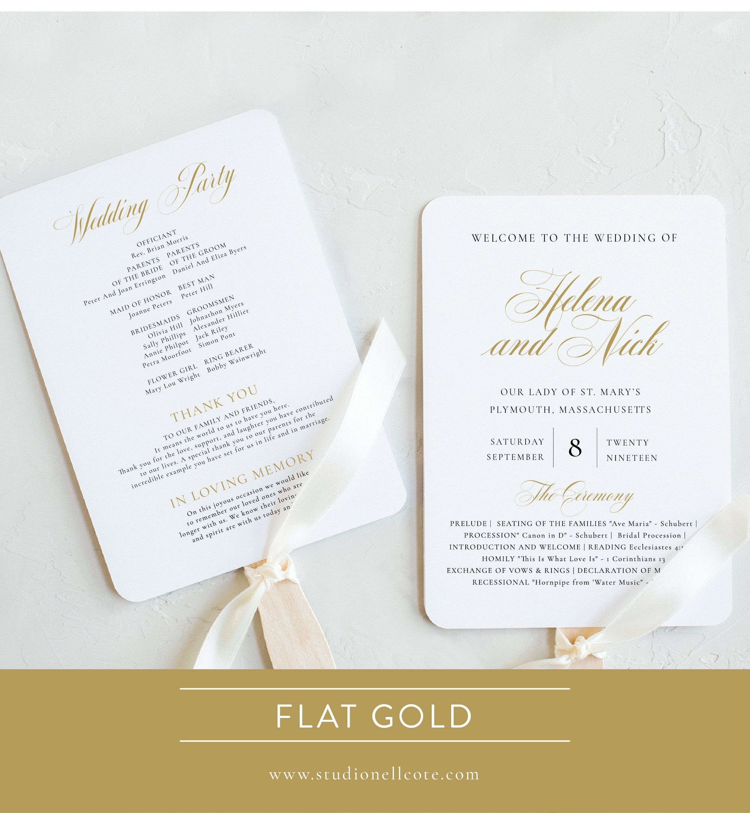 Gold Wedding Program Fan Gold Ceremony Program Fan Order Of Etsy Wedding Programs Wedding Program Fans Ceremony Programs