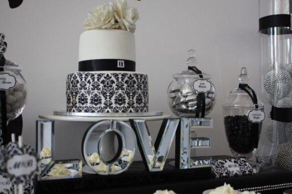 Black And White Damask Wedding Cake Candy Buffet