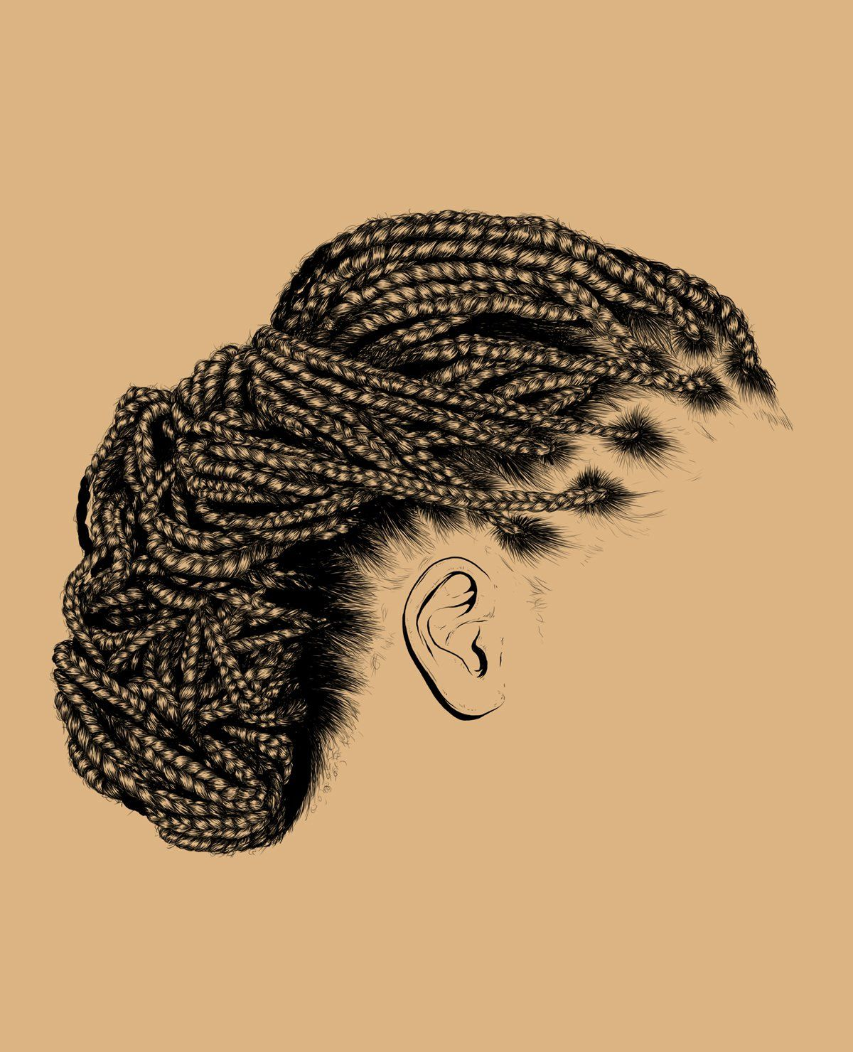 line art, black and white, braided, drawing | Natural Hair ...