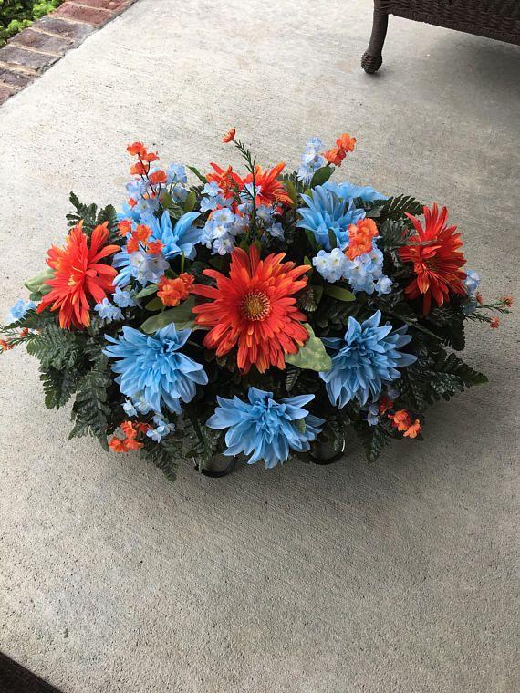 Cemetery Flowers..Memorial Flowers..Cemetery Saddle..Headstone