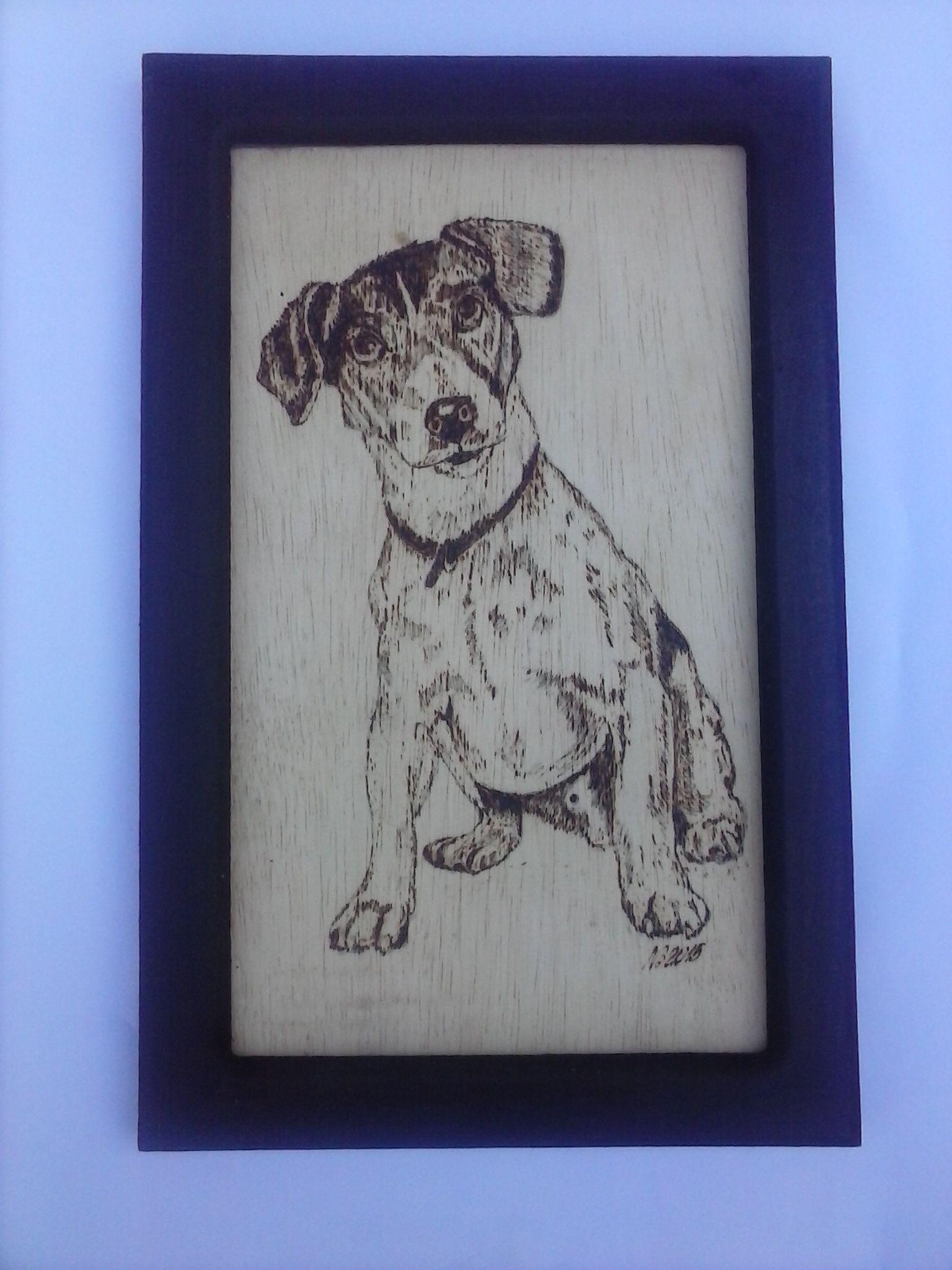 Cachorro pirografado em pinho com moldura (20 x 30 cm)