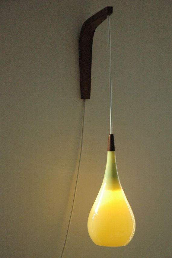 Glass pendant or wall light by Holmegaard, Danish design lamp light in yellow glass Glass ...
