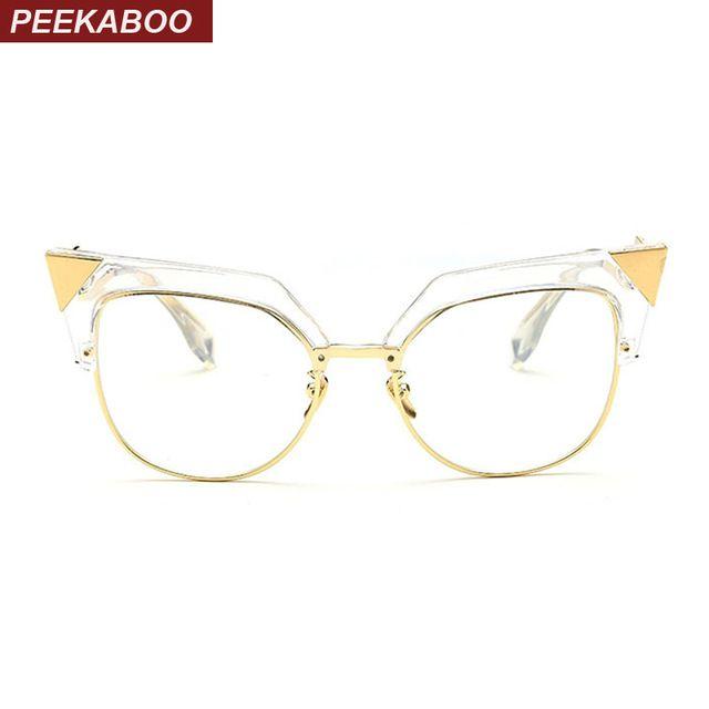 03d9f78f8faf Peekaboo new women fashion glasses cat eye half metal big cat eye glasses  frames for women transparent black oculos