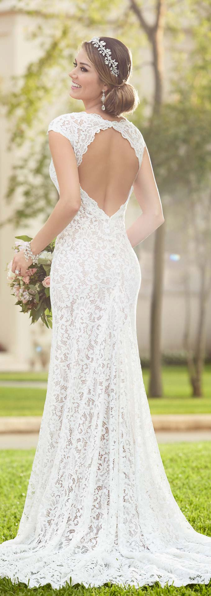 Stella york full lace long wedding dress with keyhole back