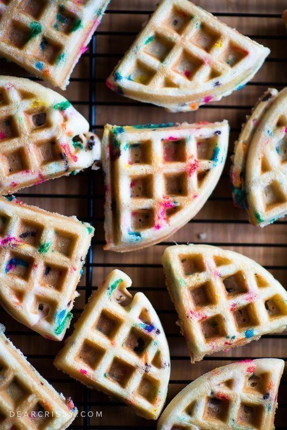 Cake Batter Birthday Waffles - Festive Funfetti Cake Mix Waffles! #cakebatter