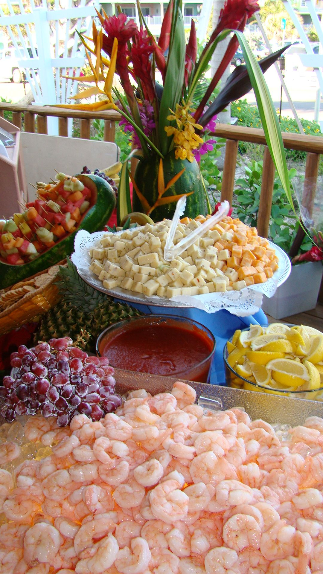 Shrimp Platter Wedding Beach Ceremony Wedding Buffet