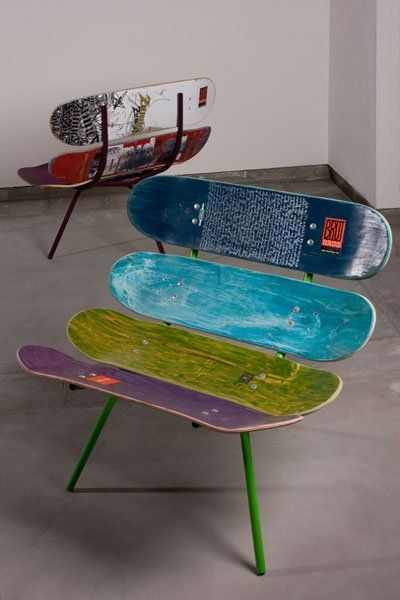 Discover thousands of images about Rad idea for furniture in the boy's  room. now to find some old skateboards. ideas anyone?