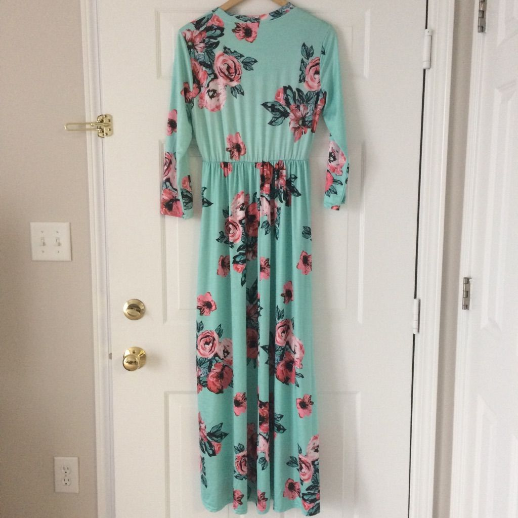Mint floral long sleeve maxi dress with pockets long sleeve maxi