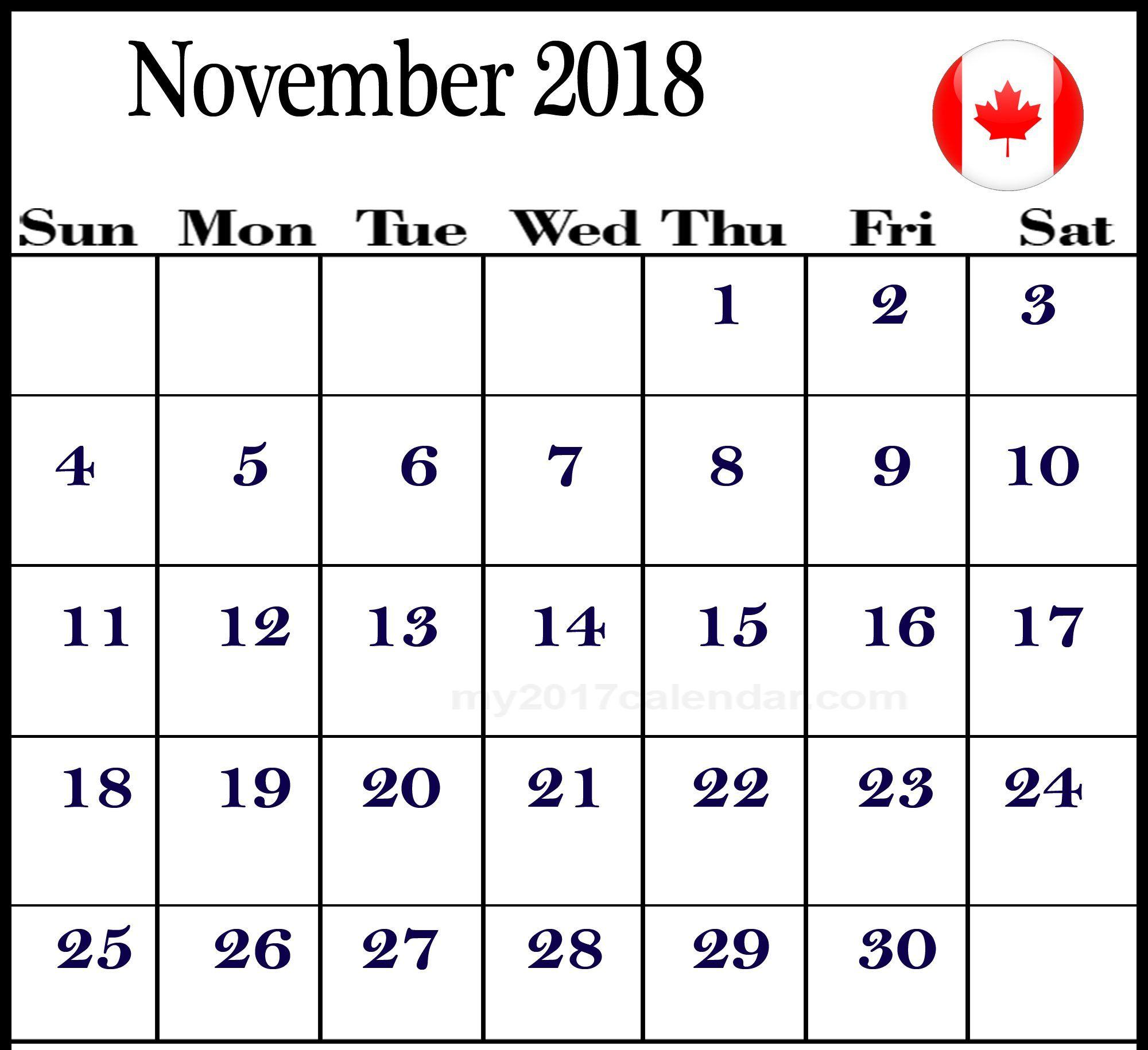 November 2018 Calendar Canada Template November 2018 Calendar