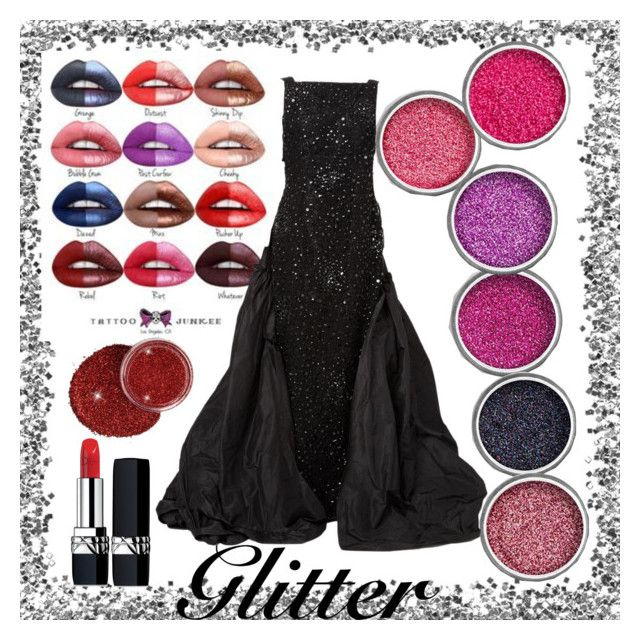 """""""Glitter Tutorial"""" by ahapplet ❤ liked on Polyvore featuring beauty, Oscar de la Renta, Christian Dior, black, red, glitter and ahapplet"""