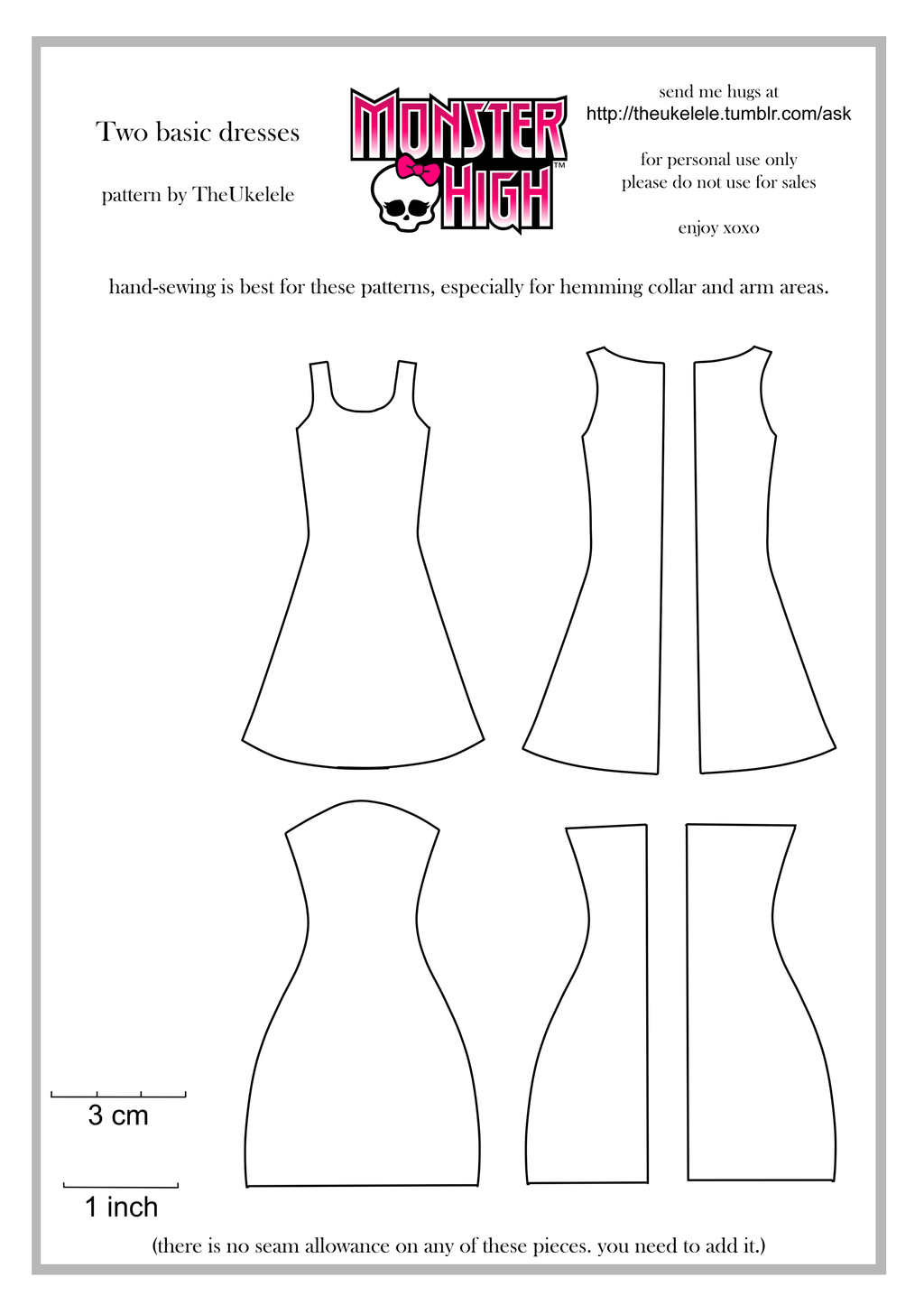 Monster High Two Basic Dress Patterns by TheUkelele