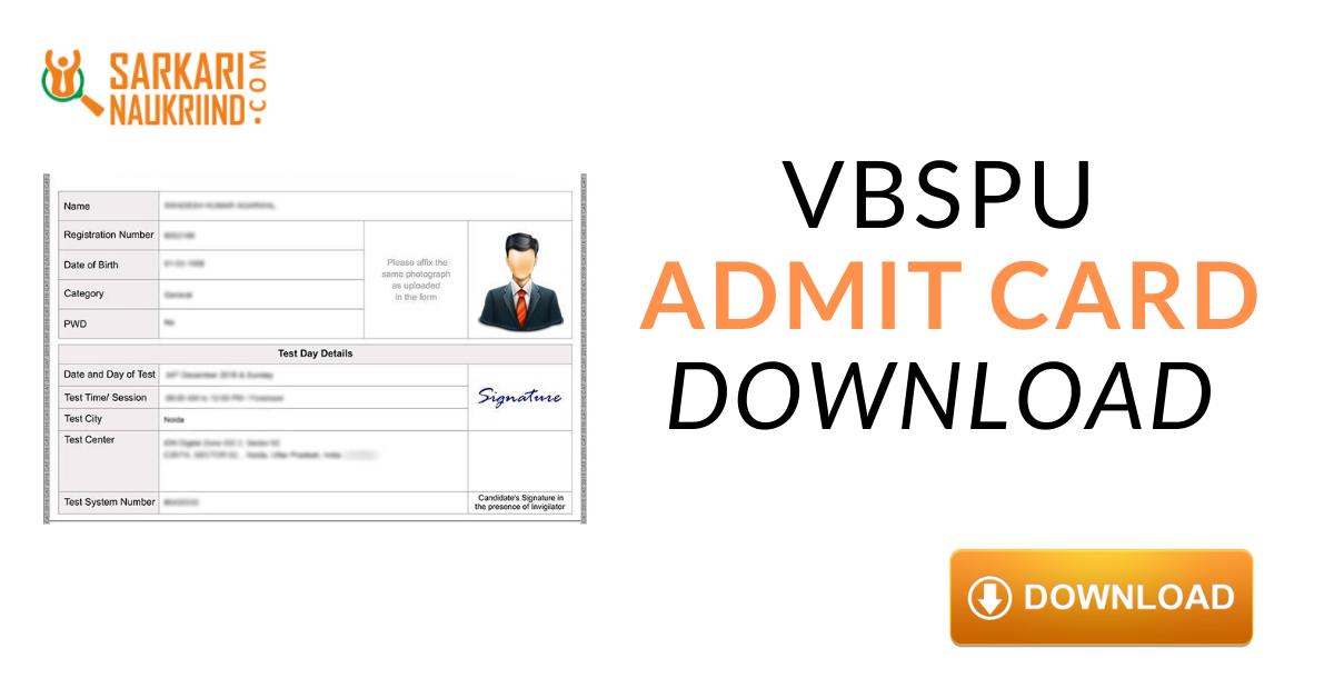 Vbspu Admit Card 2021 Download Vbspu Ba Bsc B Com Admit Card University Exam Cards Student