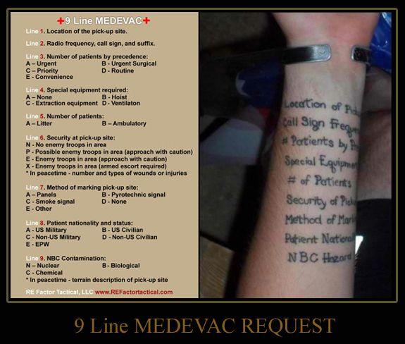 9 Line Medevac Tattoo