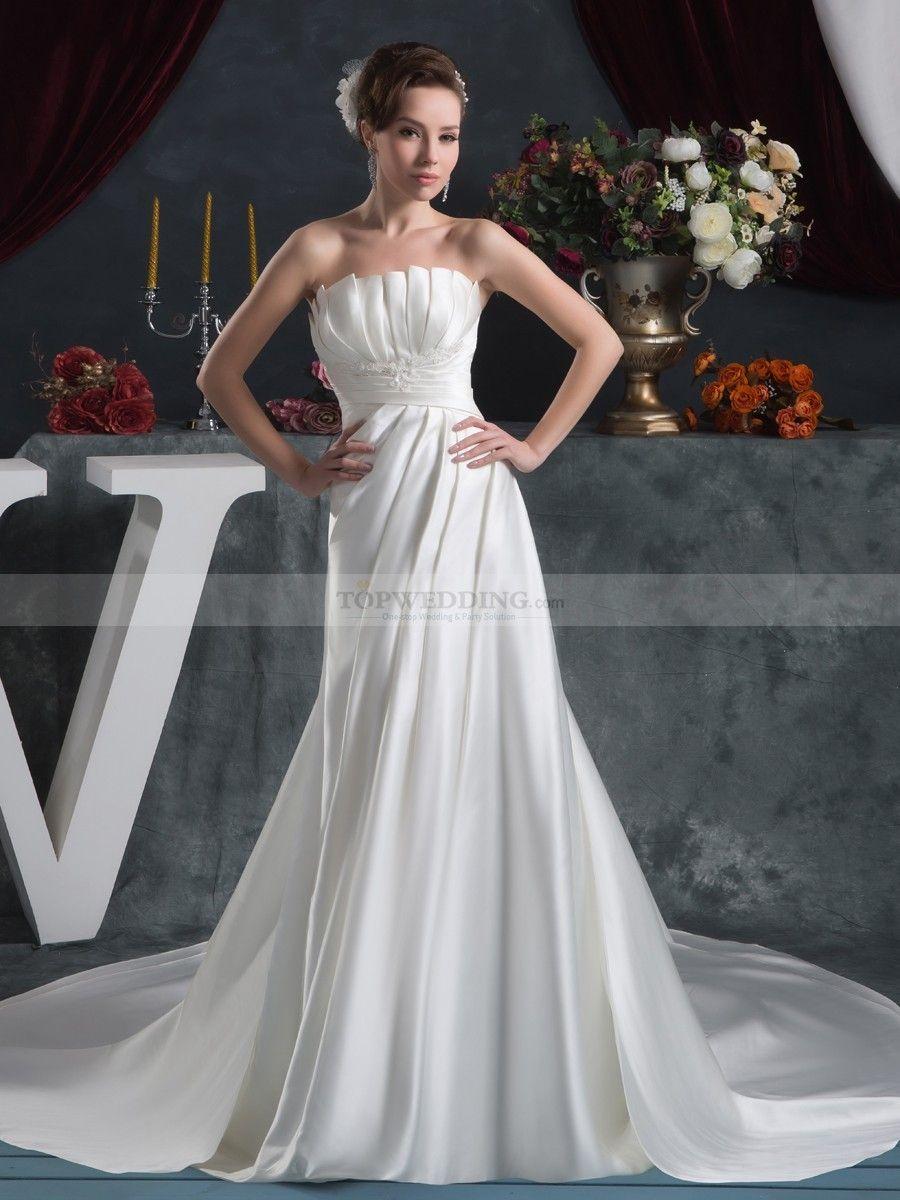 Markeisha - corte a cola capilla vestido de novia de satén con apliques $379.99 Vestidos de Novia 2015 Otoño