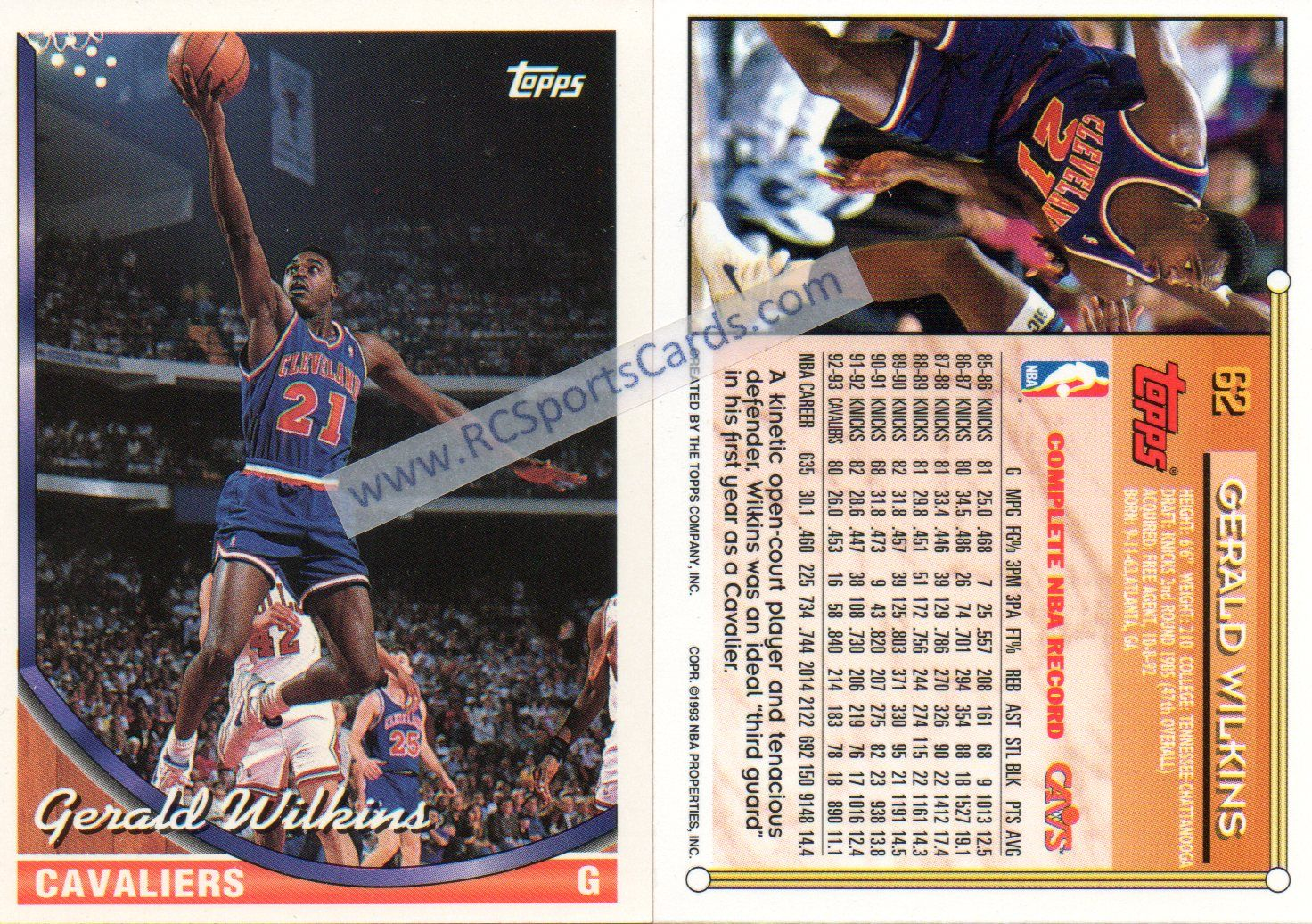 1993 94 Gerald Wilkins Cavaliers Basketball cards at