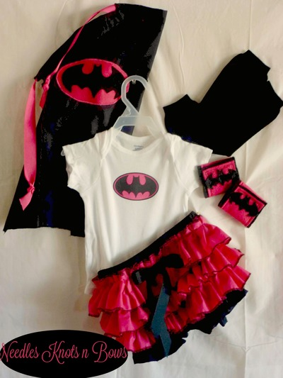 Girls Batgirl Costume, Baby Girl Batgirl Halloween Costume, Newborn, Infants from Needles Knots n Bows