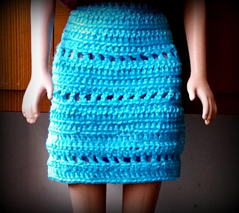 Barbie short skirt kneelength blue crochet handmade short skirts