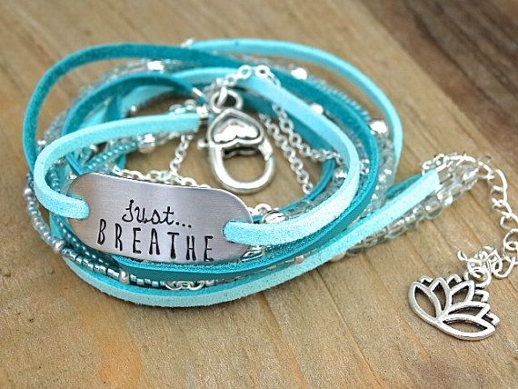 Boho Just BREATHE Hand Stamped Leather Wrap by AllStrungOut925