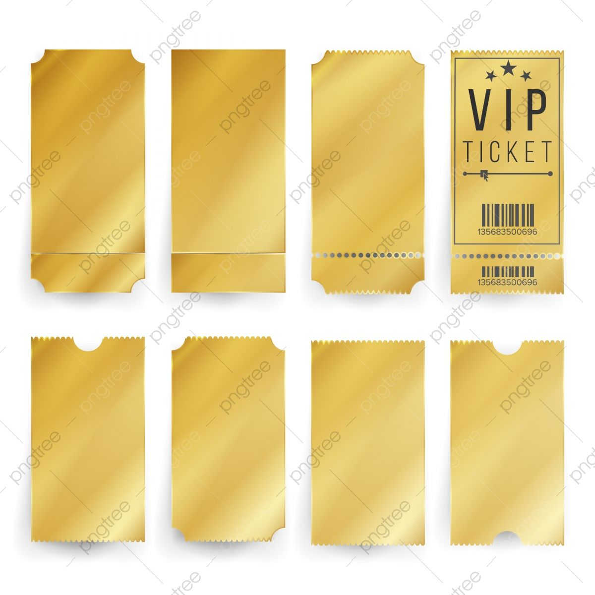 Vip Ticket Template Vector Empty Golden Tickets And Coupons Blank Isolated Illustration Ticket Golden Gold Png And Vector With Transparent Background For Fre Ticket Template Ticket Design Vip Tickets