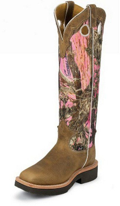 30346f2abec Justin Ladies Pink True Timber Camo Snake Proof Boots   boots ...