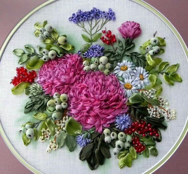 Silk ribbon embroidery, with beads.