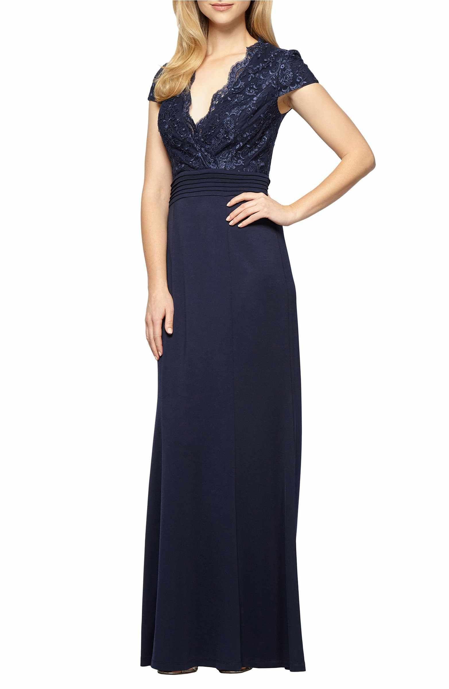 Main image alex evenings lace u jersey aline gown dresses for