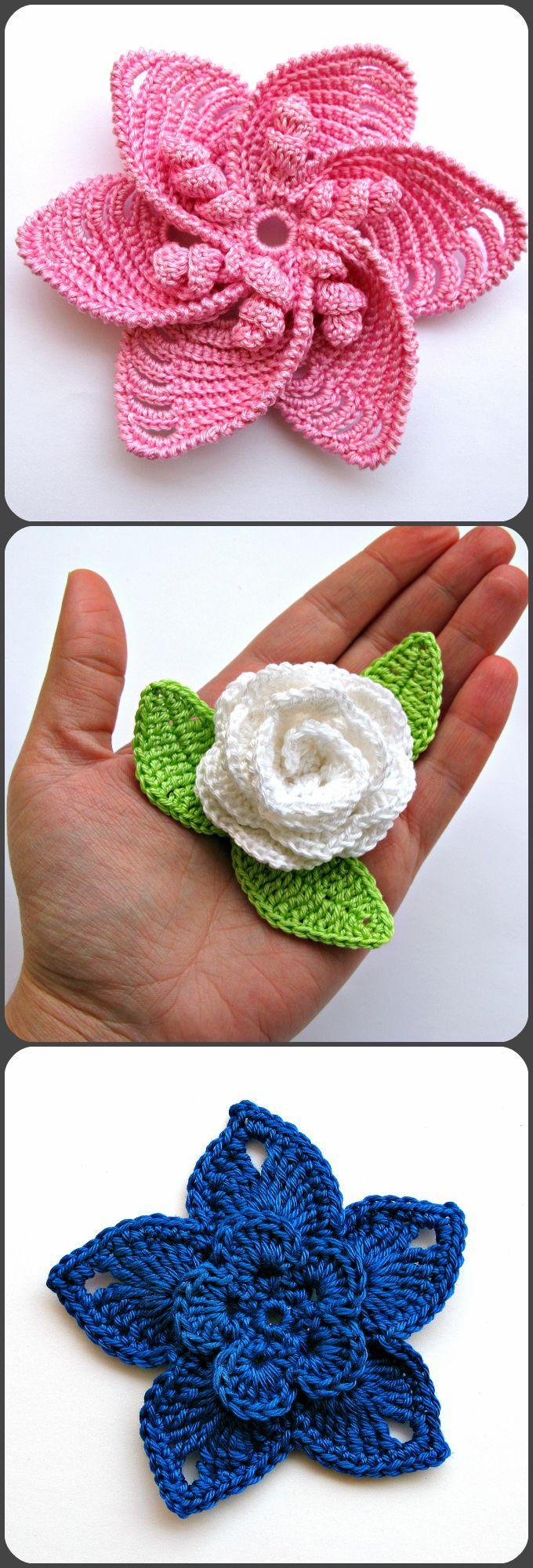 Crochet Flowers Appliques. Crocheted Embellishment. Decor Crochet ...