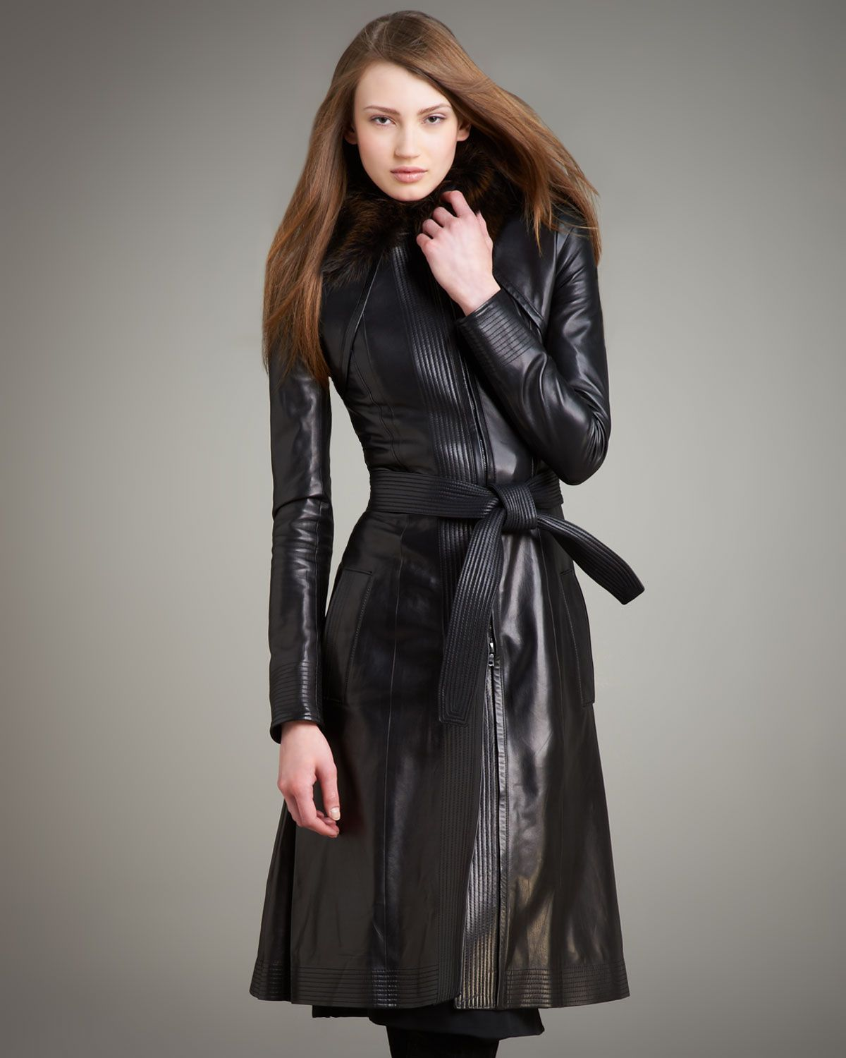 Narciso Rodriguez long leather coat | Leather Trench Coats ...