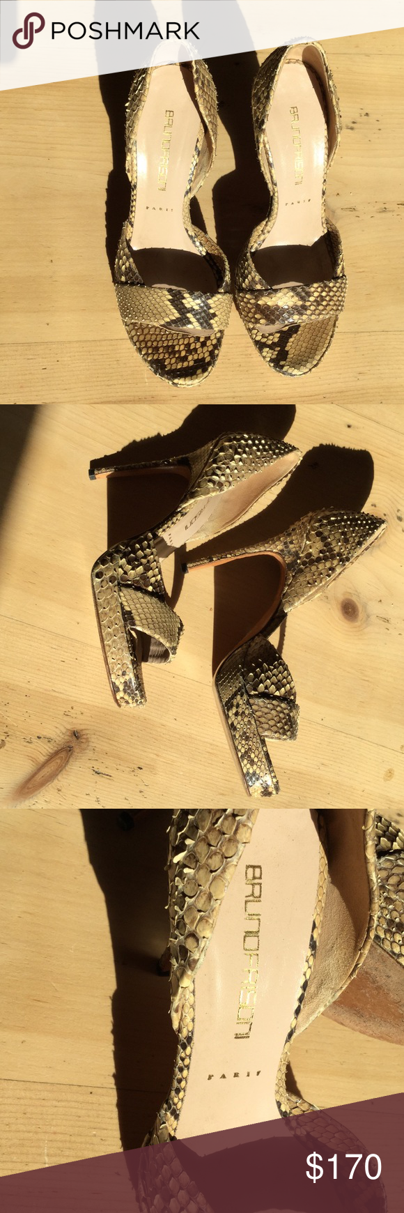 Bruno Frisoni Python high heeled stilettos Gorgeous authentic Python stilettos. Worn once.  A few scuffs on sole but python is in excellent condition. bruno frisoni Shoes Heels