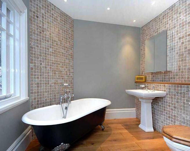 photo of beige blue white bathroom with bath claw foot bath flooring freestanding bath multi - Bathroom Tile Ideas Colour