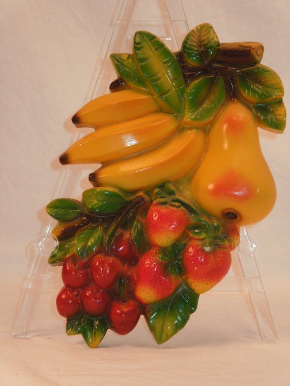 Fruit Wall Decor vintage chalkware fruit wall decor | wall decor, cozy kitchen and