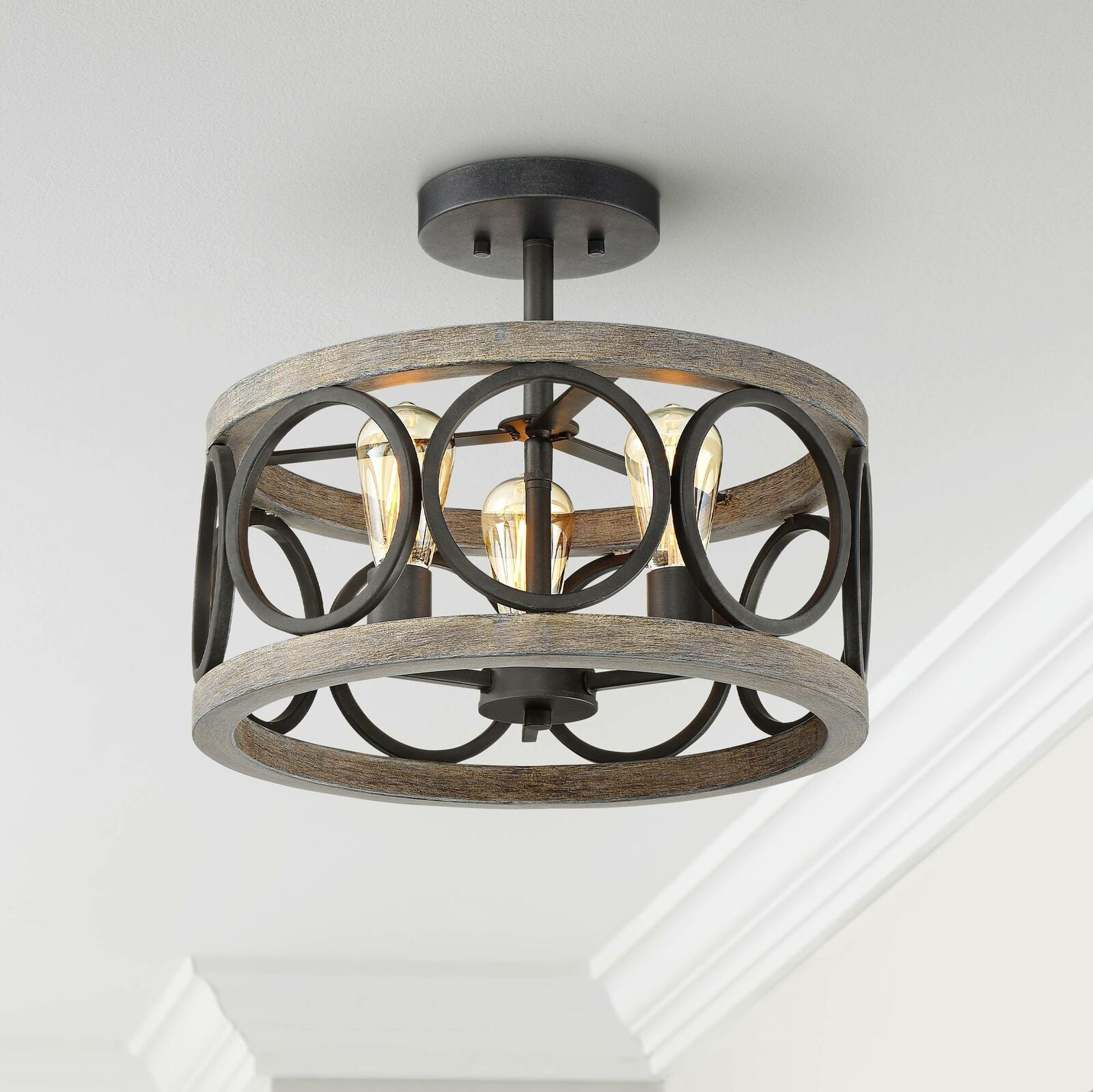 Farmhouse Ceiling Light Semi Flush Mount Fixture Black Gray Wood