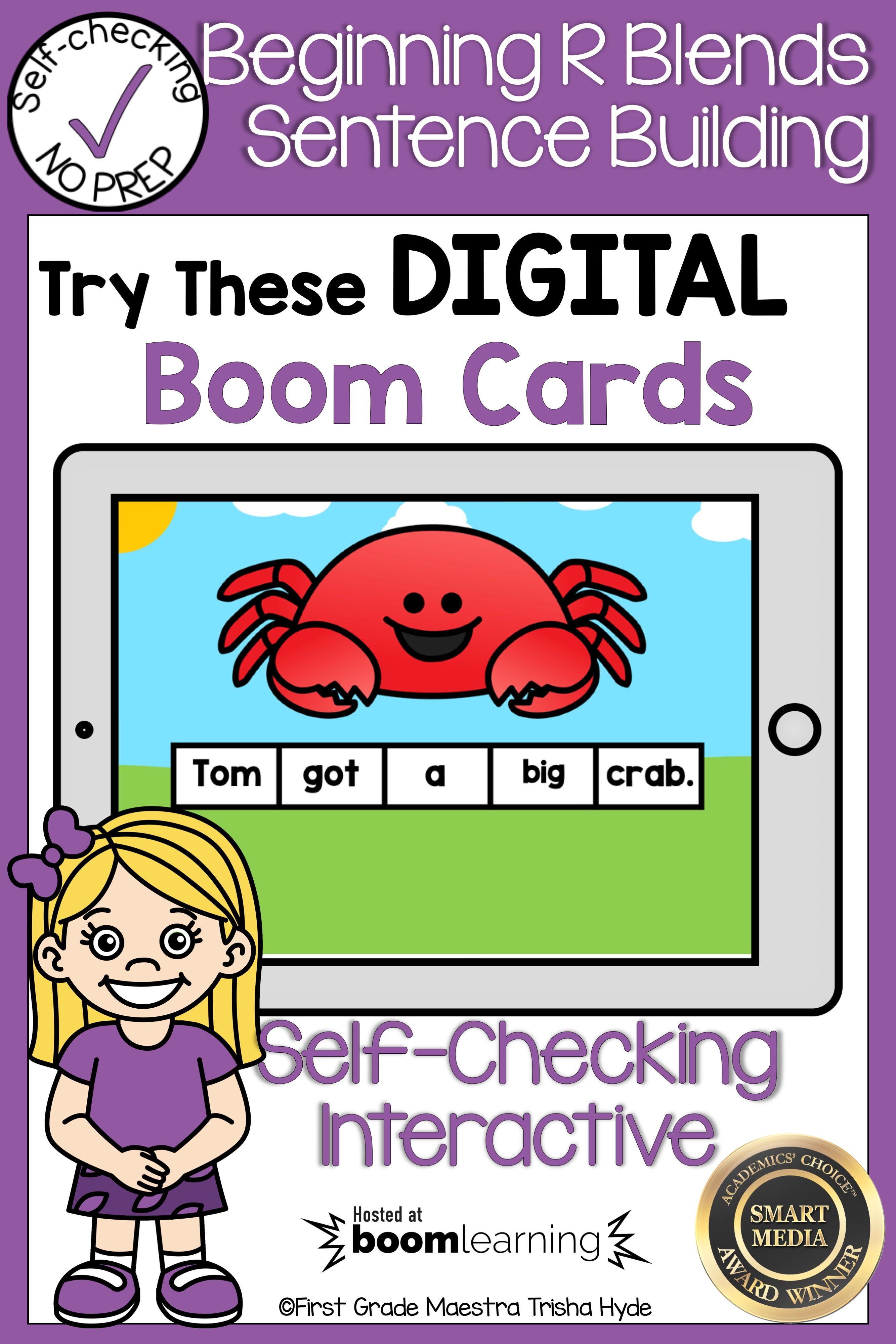 Boom Cards Beginning R Blends Sentence Scrambles