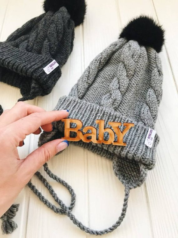 d41abad9a7e Grey Baby merino hat Organic baby clothes Baby reveal box Organic newborn  hat Knit earflap hat Merin