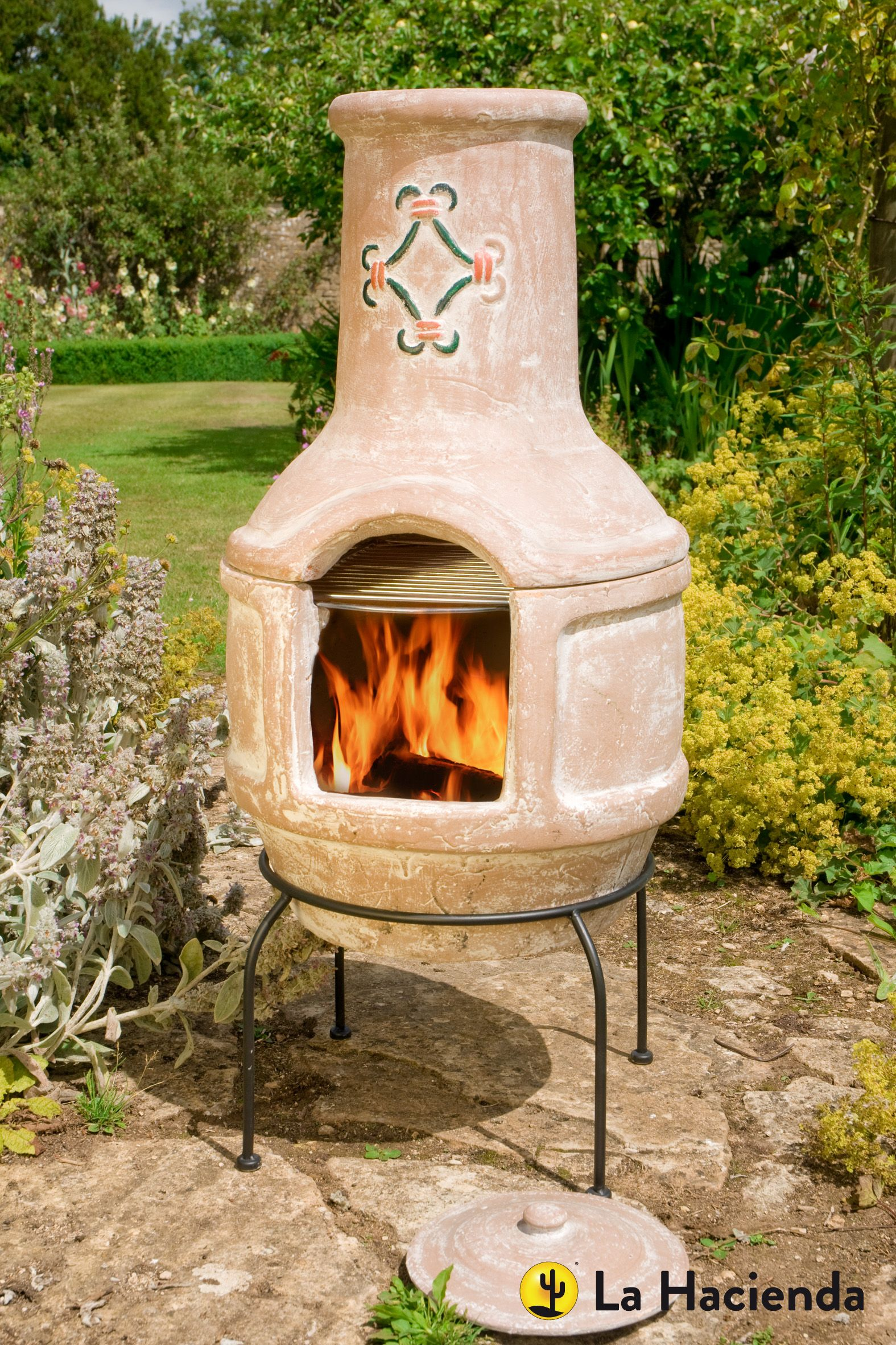 Large Spanish Scroll Chimenea With Grill Bbq Grilling Garden Gardening