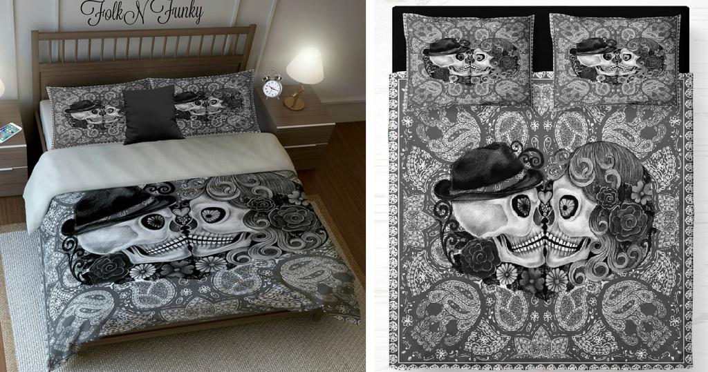 3706c299fd Sugar Skull Cute Couple Bedding